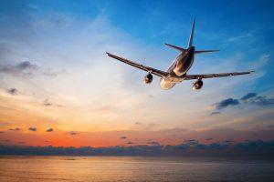 Voyage avion coucher de soleil